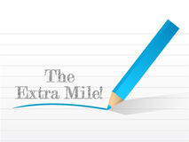 The extra mile sign written on a notepad. Illustration stock illustration