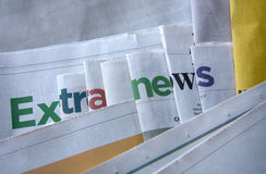 Extra news letters. On the newspapers Stock Image