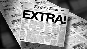 Extra! Newspaper Headline (Reveal and Loop) HD Animation. Newspapers coming off the press. Cover page spins on. First 1 second is a blank loop. Then the stock footage