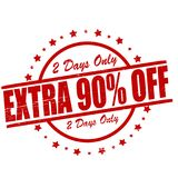 Extra ninety percent off. Stamp with text extra ninety percent off inside, ilustration royalty free illustration