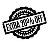 Extra 20 Off rubber stamp. Grunge design with dust scratches. Effects can be easily removed for a clean, crisp look. Color is easily changed Stock Image