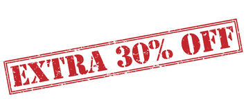 Extra 30 percent off red stamp. On white background Royalty Free Stock Photography