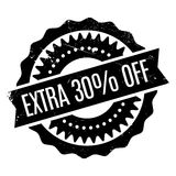 Extra 30 percent Off rubber stamp. Grunge design with dust scratches. Effects can be easily removed for a clean, crisp look. Color is easily changed royalty free illustration