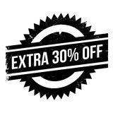 Extra 30 percent Off rubber stamp. Grunge design with dust scratches. Effects can be easily removed for a clean, crisp look. Color is easily changed Stock Photo