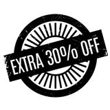 Extra 30 percent Off rubber stamp. Grunge design with dust scratches. Effects can be easily removed for a clean, crisp look. Color is easily changed Stock Images