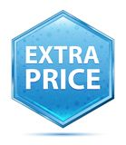 Extra Price crystal blue hexagon button. Extra Price Isolated on crystal blue hexagon button stock illustration