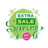 Extra sale banner or poster design. Print Design for Seasonal Pr. Omotion. Voucher template. Spring Vector illustration royalty free illustration