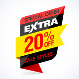 Extra Sale banner, special offer. Take an extra 20% off all sale style stock illustration
