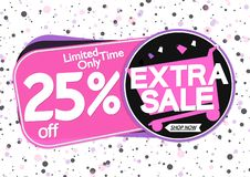 Extra Sale 25% off, tags design template, discount banners, vector illustration. Extra Sale 25% off, tags design template, best discount banners, vector royalty free illustration