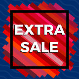 Extra sale red banner on blue background.  Vector background with colorful design elements. Stock Photos