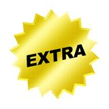 Extra Sign. Yellow extra sign - web button - internet design Royalty Free Stock Photo