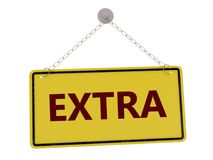 Extra sign. With chain isolated on white background ,3d rendered stock illustration