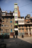 Extra slim apartment building, Kathmandu Stock Photos