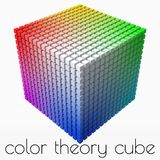 Extra small cubes makes color gradient in shape of big cube. 3d style vector illustration. Extra small cubes makes color gradient in shape of big cube. color royalty free illustration