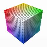 Extra small cubes makes color gradient in shape of big cube. 3d style vector illustration. Extra small cubes makes color gradient in shape of big cube. color stock illustration