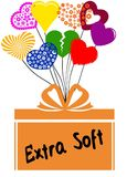 EXTRA SOFT on gift box with multicoloured hearts. Illustration concept royalty free illustration