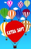 EXTRA SOFT written on hot air balloon with a blue sky background. Illustration royalty free illustration