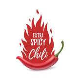 Extra spicy chili paper poster template. Extra spicy chili paper poster, badge or banner template with fire, isolated on white background. Vector illustration Stock Photography