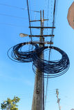 Extra spools of telephone wire on the pole Royalty Free Stock Photography