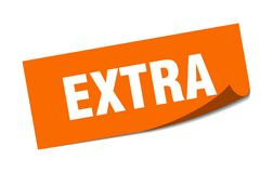 Extra sticker. Extra square sign. extra stock illustration