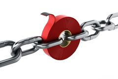 Extra strong adhesive tape among chain parts. 3D illustration.  Stock Image