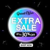 Extra Verkoop, tot 30% weg, bannerontwerpsjabloon, grote aanbieding, kortingsmarkering, vectorillustratie vector illustratie