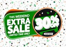 Extra Verkoop 30% weg, markeringenontwerpsjabloon, kortingsbanners, vectorillustratie royalty-vrije illustratie
