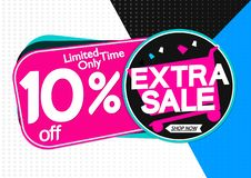 Extra Verkoop 10% weg, markeringenontwerpsjabloon, kortingsbanners, vectorillustratie royalty-vrije illustratie