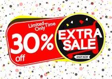 Extra Verkoop 30% weg, markeringenontwerpsjabloon, kortingsbanners, vectorillustratie stock illustratie