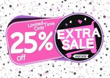 Extra Verkoop 25% weg, markeringenontwerpsjabloon, kortingsbanners, vectorillustratie royalty-vrije illustratie