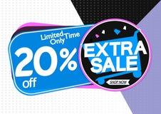 Extra Verkoop 20% weg, markeringenontwerpsjabloon, kortingsbanners, vectorillustratie vector illustratie