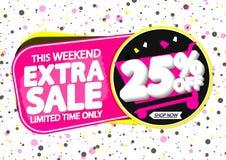 Extra Verkoop 25% weg, markeringenontwerpsjabloon, kortingsbanners, vectorillustratie stock illustratie