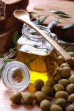 Extra virgin (olive) oil. In glass bottle Royalty Free Stock Photo