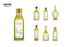 Extra virgin olive oil canned glass bottles. With labels. Layout of food identity branding, modern packaging design. Healthy organic product, natural vegetarian stock illustration