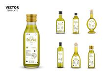 Extra virgin olive oil canned glass bottles stock photos
