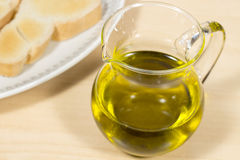 Extra Virgin olive oil into a crystal cruet Stock Photography