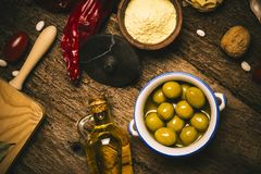 Extra virgin olive oil and food ingredients. Stock Image