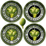 Extra Virgin Olive Oil - Four Icons. Collections of four round icons or symbol with green olives and oil, text Extra virgin olive oil and five stars. on white royalty free illustration
