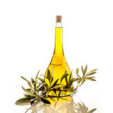 Extra virgin olive oil glass bottle isolated Stock Images