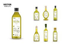 Extra virgin olive oil glass bottles set. Extra virgin olive oil glass bottles with labels isolated on white background. Layout of food identity branding, modern vector illustration