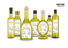 Extra virgin olive oil glass bottles set. Extra virgin olive oil realistic glass bottles set with labels. Layout of food identity branding, modern packaging royalty free illustration