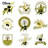 Extra virgin olive oil labels. Design element for label, emblem,. Brand mark, sign. Vector illustration stock illustration