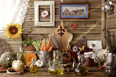 Extra virgin olive oil and organic food Royalty Free Stock Images