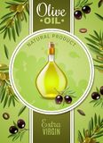 Extra Virgin Olive Oil Poster. With advertising of natural product and glass bottle with cork stopper realistic vector illustration vector illustration