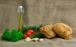 Extra virgin olive oil. Some typical Italian cooking ingredients Royalty Free Stock Photo