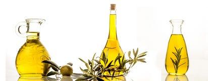 Extra virgin olive oil three bottles isolated Stock Photos
