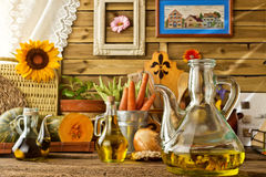 Extra virgin olive oil and vegetables Royalty Free Stock Image