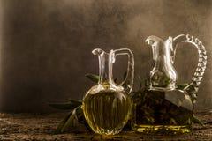 Extra virgin olive oil vintage cruets Stock Images