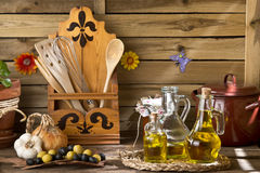 Extra virgin olive oils and olives Royalty Free Stock Photo