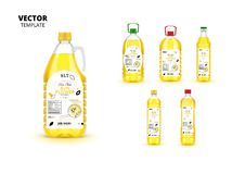 Extra virgin sunflower oil canned plastic bottles. With labels. Layout of food identity branding, modern packaging design. Healthy organic product, natural royalty free illustration